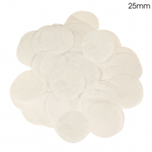White Tissue Paper Confetti for Balloons | 25mm Round 100g Bag